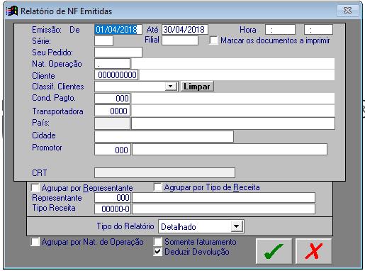 Relatorio Resumo de Faturamento por NF